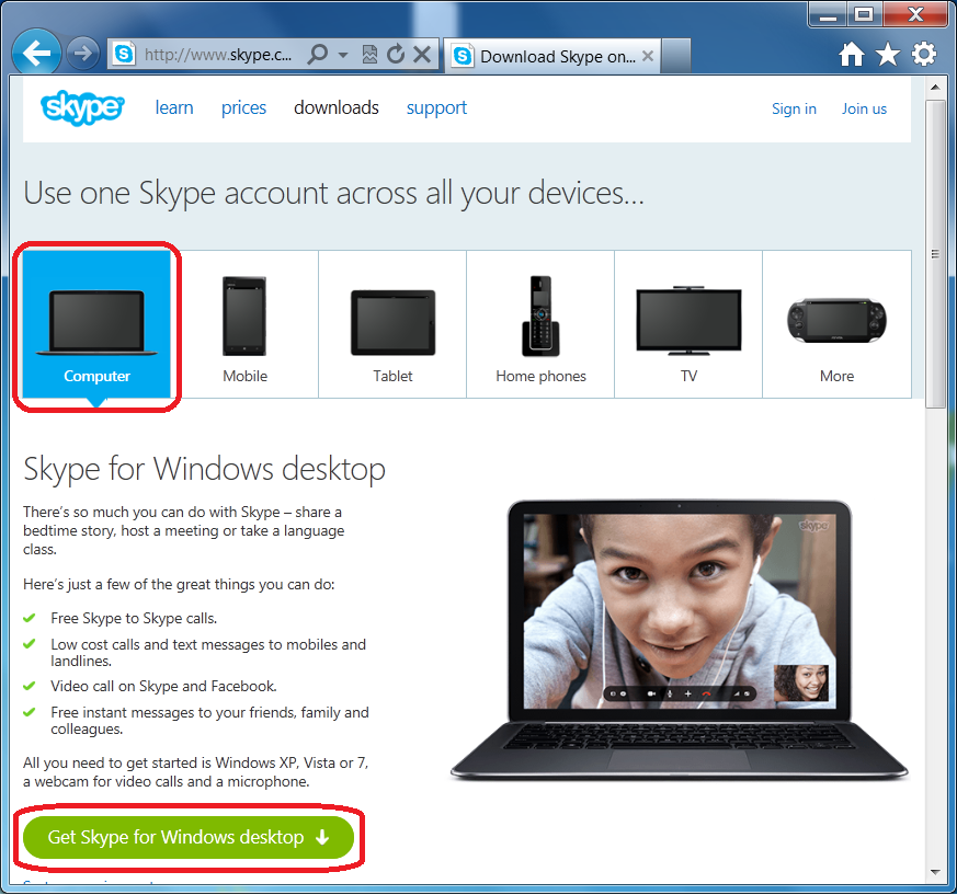 Skype for Windows desktop homepage